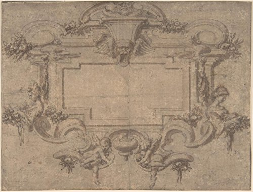 """Drawing """"Design for a Cartouche or Wall Panel with Scrollwork, Masks and Female Figures""""   Artist: Anonymous, Italian, 17th century  Created: 17th century  Medium: Pen and Ink"""