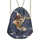 Showudesigns Personalized Cat Drawstring Gymsack College Kids Outdoor Cycling Gympack