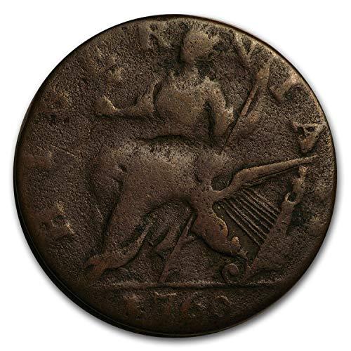 Irish Coin Set - 1760 Hibernia Halfpenny Voce Populi VG Penny Very Good