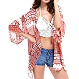 Lanzom Women Boho Chiffon Kimono Cover-ups Swimwear Beach Cover Up (Red)