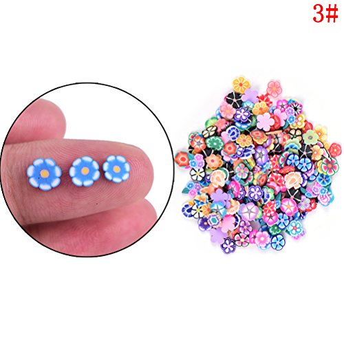 Fimo Star (CosCosX 2000 Pcs Nail Art Sticker 3D Nail Tips Polymer Fimo Slices Clay Decoration Manicure Nail Decor DIY Slime,Decal Pieces Accessories,Fruit,Flower,Star,Heart,Leaves,Dragonfly)