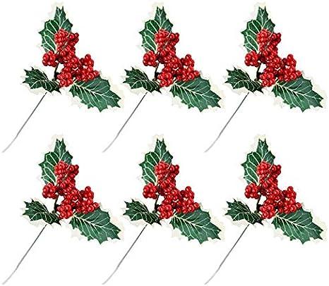 QWLHZW Red Pearl Flor Artificial 6pcs decoración de Navidad de la Baya, Mesa de decoración Floral, Día de San Valentín Bouquet, Decoración bufé, Mini Adorno for Regalos y Partes