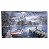 Garden Flag Watercolor Painting Lake 3x5ft Home Yard Flag Wall Banners Decoration