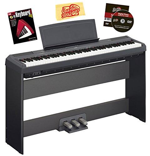 Yamaha P-115 Digital Piano - Black Bundle with Yamaha L-85 Furniture Stand, LP-5A 3-Pedal System, Instructional Book, Austin Bazaar Instructional DVD, and Polishing Cloth by Yamaha