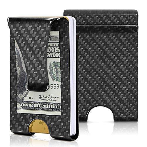 Money Clip, Carbon Fiber Wallet-Hallomall Minimalist Wallet Credit Card Holder Blocks RFID, The Perfect Gift -Carbon Fiber Money Clip- for Men