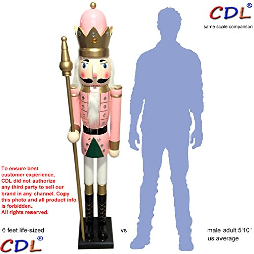 CDL 6ft tall life-size large/giant pink Christmas wooden nutcracker soldier ornament on stand hold scepter Xmas/event/ceremonies/commercial indoor outdoor decoration(6 feet, king pink k16)
