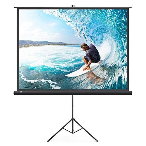 TaoTronics TT-HP019 Projector Screen with Stand, Indoor Movie Screen 100 Inch Diagonal 4:3 with Wrinkle-Free Design (Easy to Clean, 1.1 Gain, 160° Viewing Angle & Includes a Carry - Diagonal Video Inch 80 100 Inch