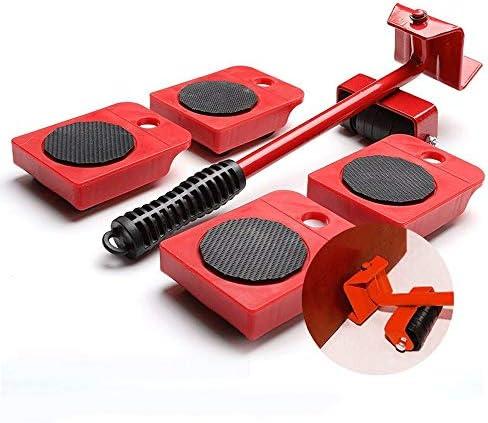 家具 移動/らくらくヘルパー/重い家具を動か | 5点セット|滑り止めハンドル|赤|耐荷重150kg /輪