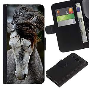 A-type (Pony Horse Mane Beautiful Animal Grey) Colorida Impresión Funda Cuero Monedero Caja Bolsa Cubierta Caja Piel Card Slots Para Samsung Galaxy S3 III I9300
