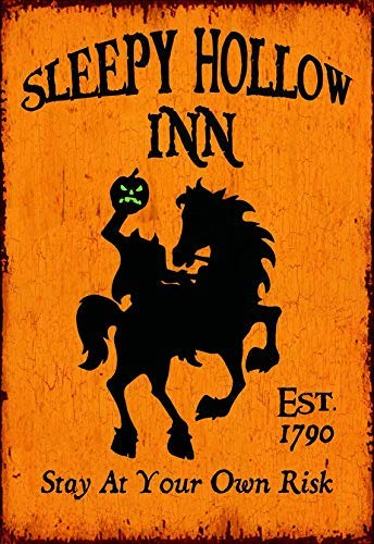 Funlaugh Sleepy Hollow Inn Halloween Tavern Style Distressed Sign Printed On Wood Decorative Plaque Desk Sign Home Wooden Sign -