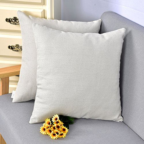 Bamboo Woven Throw (Natus Weaver Woven Fine Faux Linen Throw Cushion Case Pillow Cover With Invisible Zipper For small Sleep, 18 x 18 - inch, Light Grey , 2 Pieces)