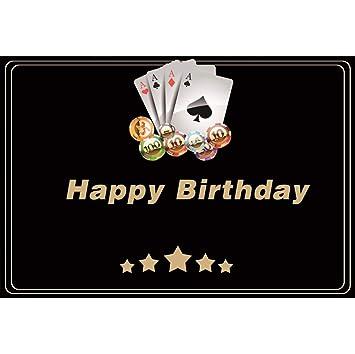 OERJU 1,5x1m Feliz cumpleaños Fondo Estrellas Doradas Poker ...