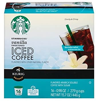 Starbucks Iced Coffee Vanilla Sweetened Keurig Kcups 16 Count Pack Of 2