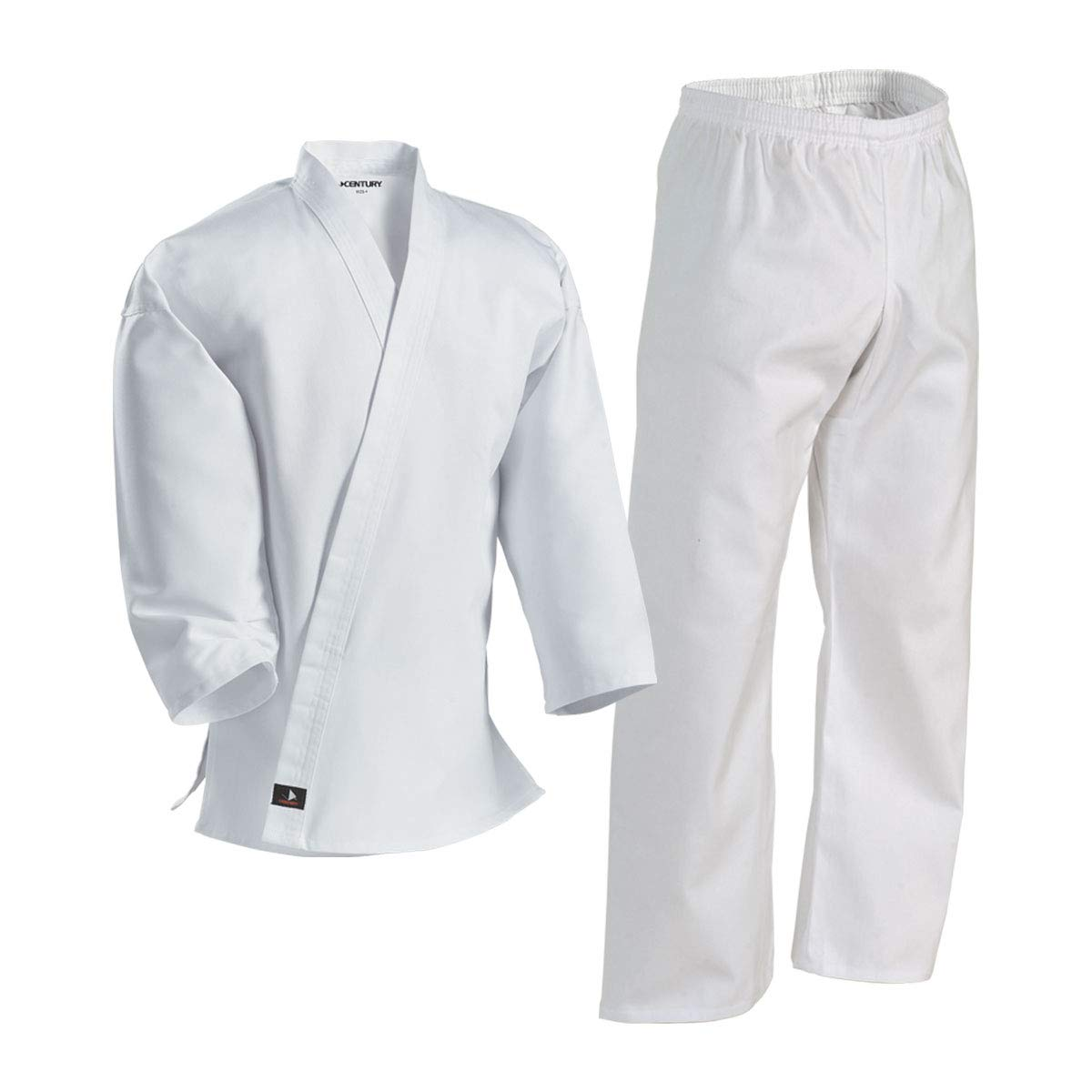 Century Karate Martial Arts Uniform with Belt Light Weight White Cotton Elastic Waistband & Drawstring for Adult & Children Size 000-7 (Size 6 200-230lb 6ft 2in - 6ft 5in) by Century