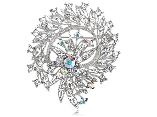 Alilang Flower Leaf Royal Bouquet Clear AB Crystal Rhinestone Wreath Holiday Pin Brooch
