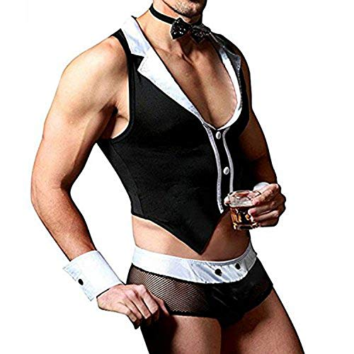 Agoky Men's Sexy Maid Role Play Waiter Costume Tops Boxer Briefs Underwear with Collar Handcuffs Lingerie Set, Black, One -