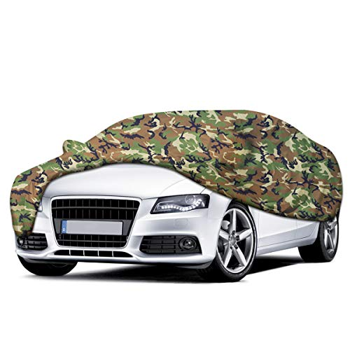 Audew Camouflage Car Cover All Season Waterproof/Ultraviolet-Proof Sedan Cover Camo Auto Cover Fits Sedans (203''Lx75''Wx55''H)