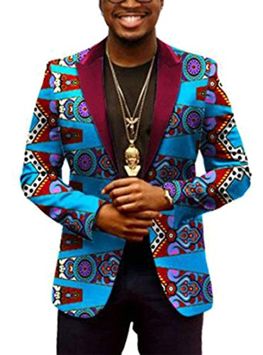- FashionRun Men Leisure Notch Neck Long Sleeves African Print Slim Fit Suit Jacket