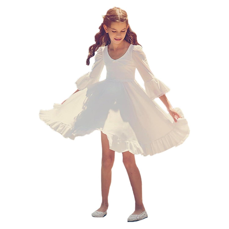 Abaowedding V Neck Half Sleeves Flounce Short Flower Girl Dress