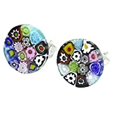 GlassOfVenice Murano Glass Millefiori Stud Earrings - Round #3