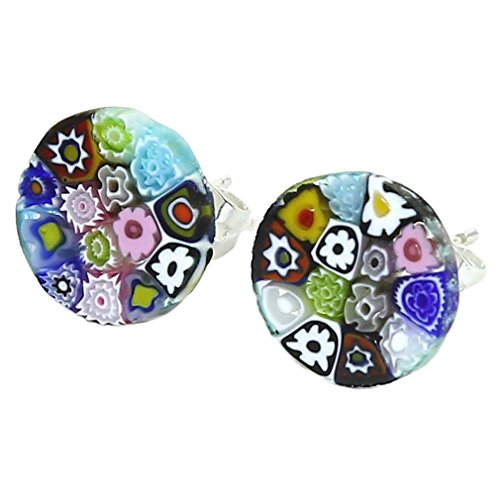 GlassOfVenice Murano Glass Millefiori Stud Earrings - Round - Glass Murano Millefiori