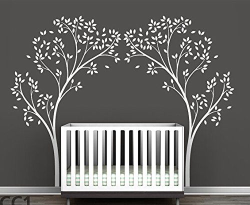 Set of 2 Birch Tree Wall Decals White Tree Wall Decals for N