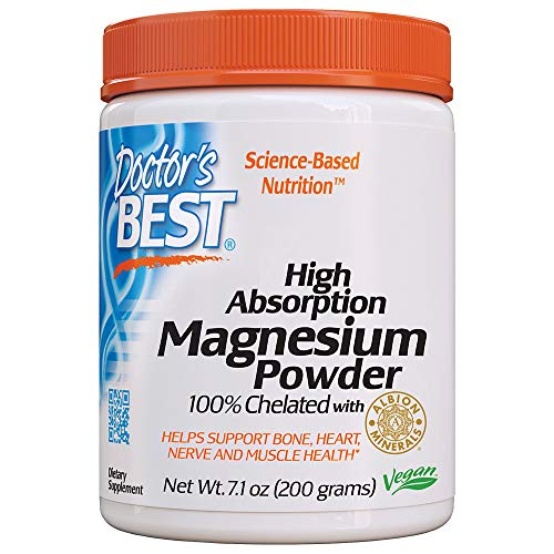 Doctor's Best High Absorption Magnesium Powder, 100% Chelated TRACCS, Not Buffered, Headaches, Sleep, Energy, Leg Cramps. Non-GMO, Vegan, Gluten Free, 200G (Doctors Best High Absorption Magnesium)