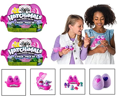NEW! Set of 2: Hatchimals CollEGGtibles - GLITTERING GARDEN 2-Pack Egg Cartons (4 Total)
