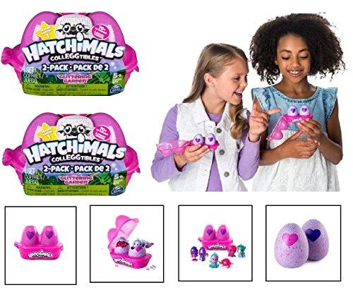 NEW! Set of 2: Hatchimals CollEGGtibles - GLITTERING GARDEN 2-Pack Egg Cartons (4 Total)