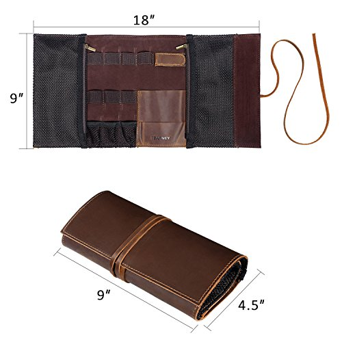 Genuine Crazy Horse Leather Electronics Organizer Roll Bag Travel Pouch for USB Cable, SD Card, Charger, Earphone, Passport, Cash, Coins, Hard Drive by BY BARNEY by BY BARNEY (Image #4)'