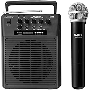 Nady WA-120BT HT Wireless Portable compact P.A full-range speaker system with built-in amplifier, BLUETOOTH, mp3 player, mixer, handheld wireless microphone