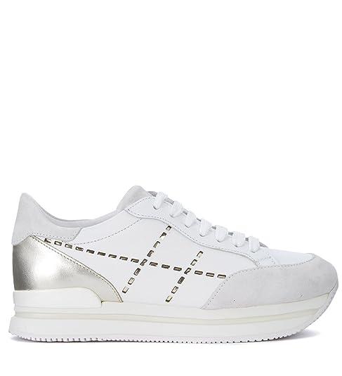 Sneaker Hogan modello H222 in pelle bianca e oro