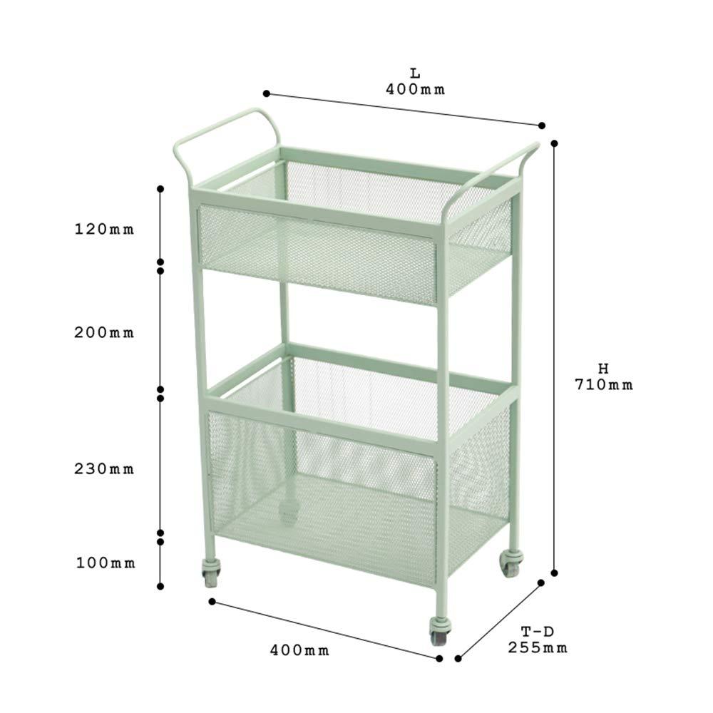 Bookshelf Xiaomei, Wrought Iron Racks Household Storage Cart Floor-Standing Multi-Layer Storage Rack-407125.5cm (Color : Light Green) by Bookshelf