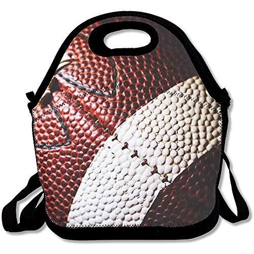 Lunch Tote - Football Wallpaper Waterproof Reusable Cooler Bag For Men Women Adults Kids Toddler Nurses With Adjustable Shoulder Strap - Best Travel Bag