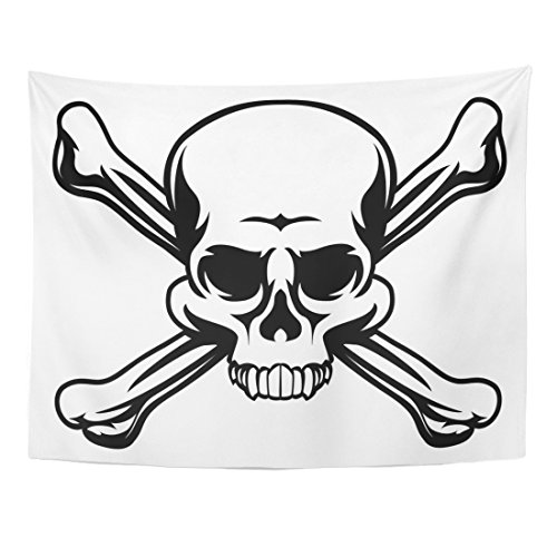 Emvency Tapestry Cross Skull and Crossbones Like Pirates Jolly Roger Sign Home Decor Wall Hanging for Living Room Bedroom Dorm 60x80 Inches ()