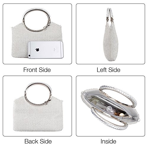 Silver Clutch Evening Rhinestone Crystal Wedding Bags Purses Clutch Handbag Party Womens Kisschic CSPqHH