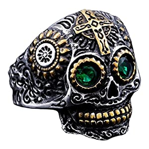 INRENG Men's Stainless Steel Silver Gold Gothic Cross Skull Ring Green Eye Vintage Flower Carved Halloween