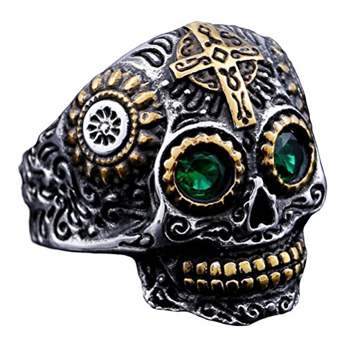 INRENG Men's Stainless Steel Silver Gold Gothic Cross Skull Ring Green Eye Vintage Flower Carved Halloween Size 7