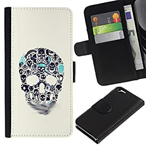 EJOY---La carpeta del tirón la caja de cuero de alta calidad de la PU Caso protector / Apple Iphone 6 / --Azul Beige cráneo del trullo Muerte de tinta del tatuaje