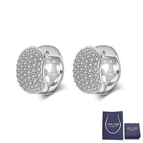 Princess Cut Diamond Huggy Earring (Huggie Hoop Earrings for Women - 14K White Gold Cubic Zirconia Square Cut Huggy Hoop Earrings (White Gold (heart shape)))