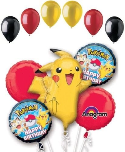 CakeDrake POKEMON Pikachu Monsters Party Birthday 11 Pc Mylar & Latex Balloon Bouquet Set -