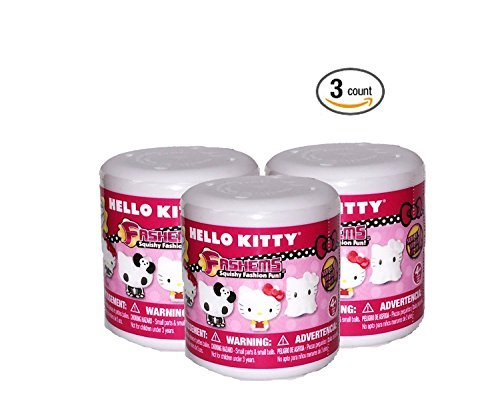 Hello Kitty Hello Kitty Fash'Ems Lot of 3 Mystery Capsule Packs, Pink, Red, Yellow, Purple, Green , Black, White, One Size