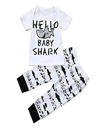 730865481 Baby Boys Clothes 2PCS Outfit Set Letter Tops +Shark Print Pants (0-6