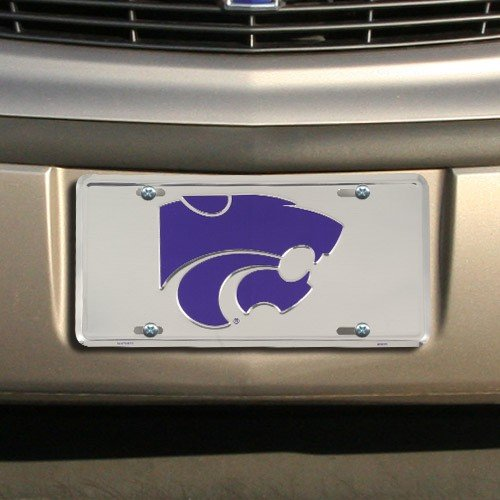 NCAA Kansas State Wildcats Silver Super Stock Metal License Plate