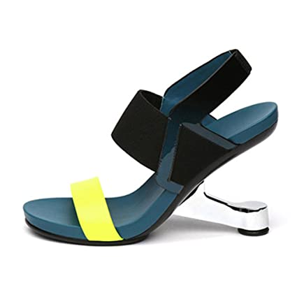 826edda7e6 Amazon.com: Dovaly Women Sandals Genuine Leather Open Toe Strange Heel  Elastic Strap Fretwork High Heels: Sports & Outdoors