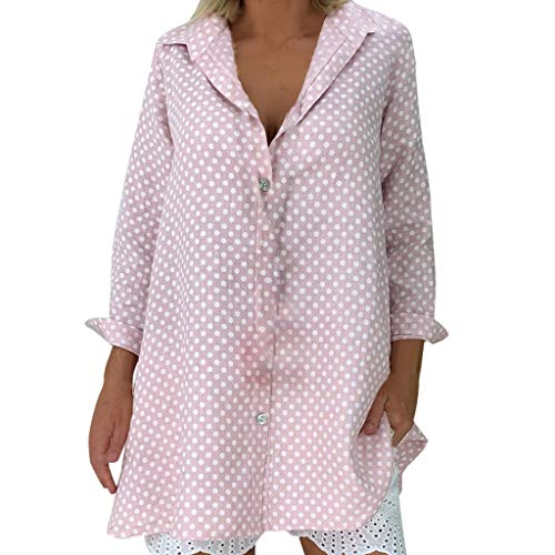 (Pervobs Shirts for Women Plus Size Casual Summer Cute Long Sleeve Polka Dots Button Down Shirts Top Blouses Camiseta(US:12, Pink))