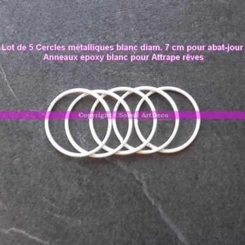 Lot de 5 Cercles métalliques Blanc diam. 7 cm pour Abat-Jour, Anneau epoxy Attrape rêves Lealoo®