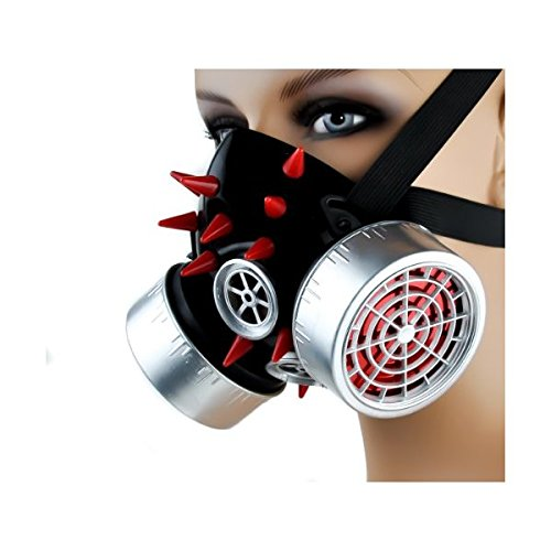 (Cyber Goth Industrial Cosplay Mask Red Spike Silver)