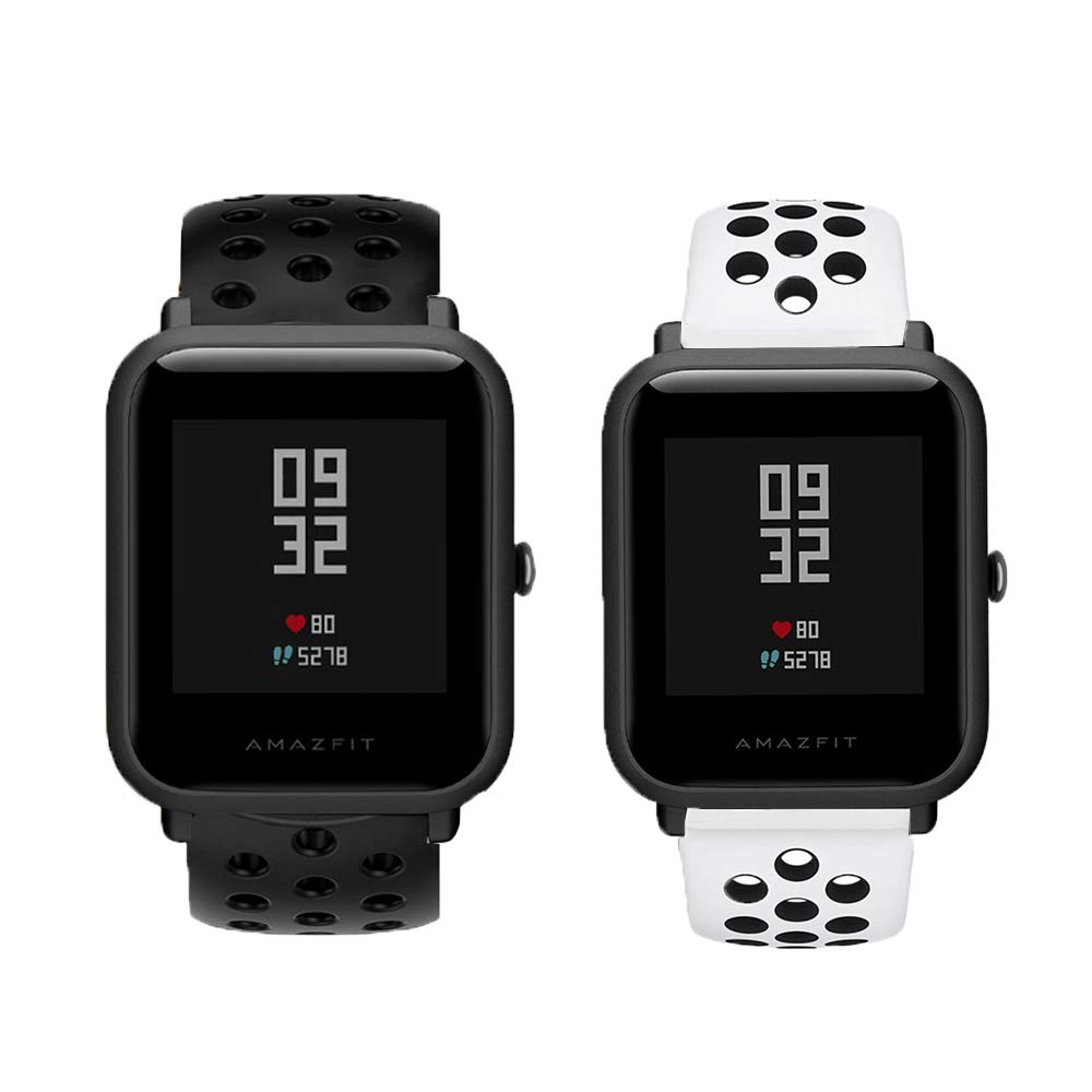 for Xiaomi Amazfit Bip Band, Lamshaw Classic Silicone Sport Replacement Straps for Xiaomi Huami Amazfit Bip Younth Watch (2 Pack-2)
