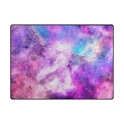 "My Daily Purple Galaxy Area Rug 4'10"" x 6'8″ – Living Room Bedroom Bathroom Kitchen Decorative Unique Lightweight Printed Rugs Carpet For Sale"